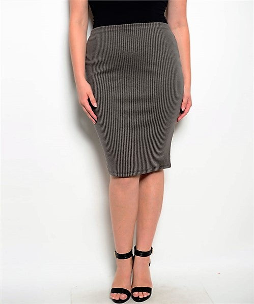 Plus Size Charcoal Skirt