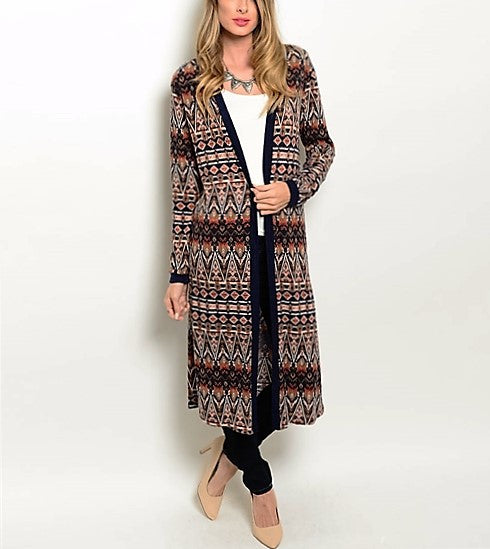 Navy Brown Cream Cardigan