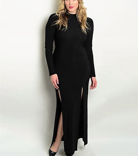 Black Plus Size Dress with side split