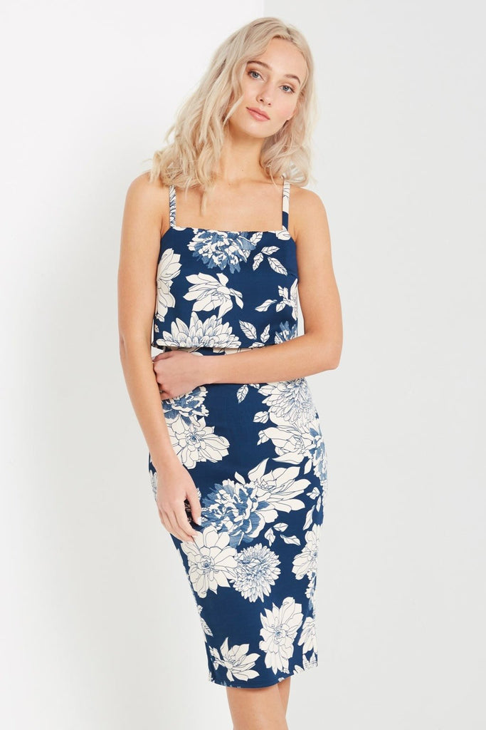 Blue Floral Split Back Overlay Bodycon Dress