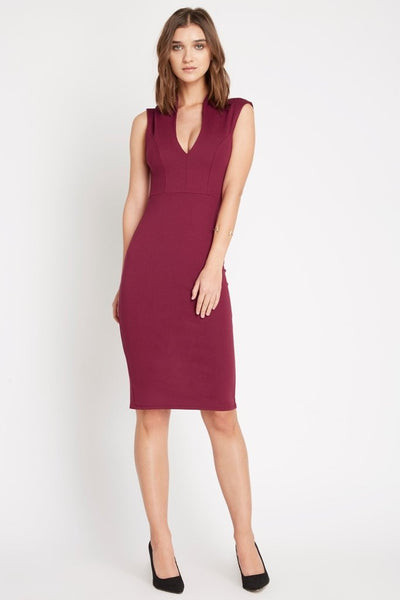 Burgundy Deep V Neck Bodycon Dress