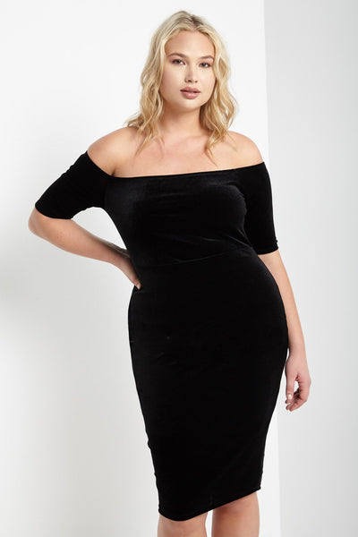 Black Velvet Off the Shoulder Midi Dress Plus Size