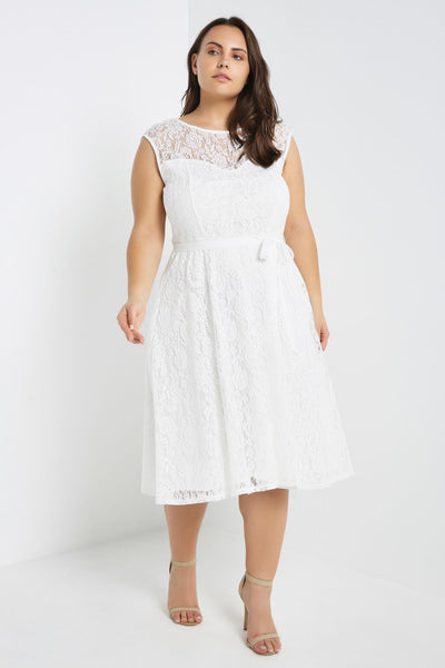 White Floral Overlay Skater Dress Plus Size