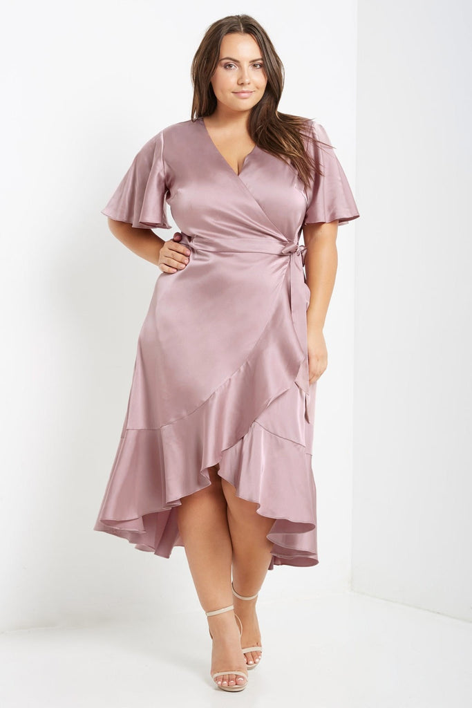 Dusty Pink Satin Wrap Midi Dress Plus Size