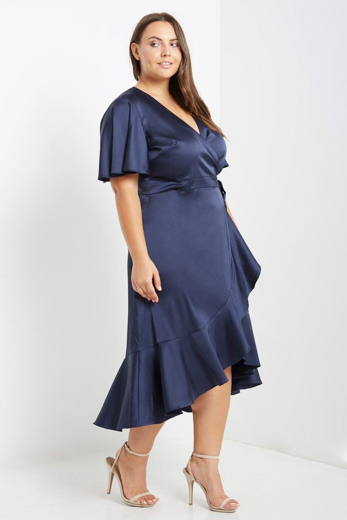 Navy Satin Wrap Midi Dress Plus Size