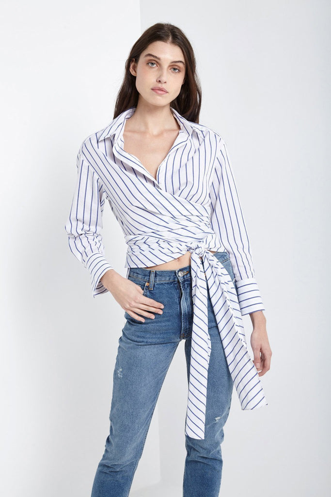 Indigo Stripe Wrap-over Shirt