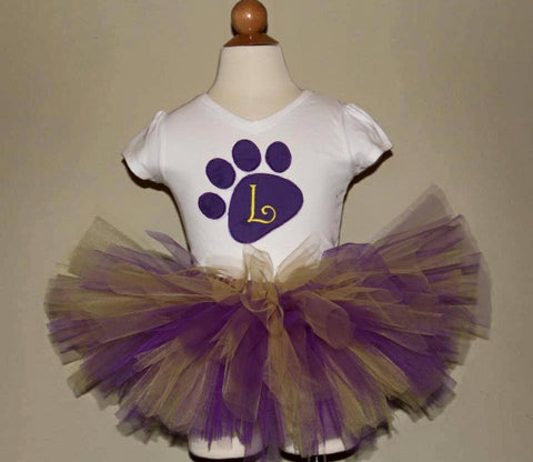 LSU Paw Print Tutu Set (with your choice of letter)