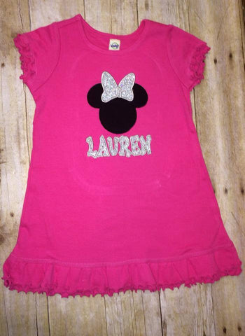 Minnie Mouse Dress with Name (Available in 6 Months up to Girls 6x)