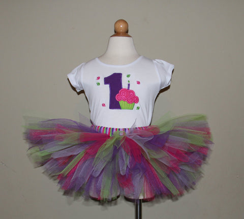 Cupcake Birthday Tutu Set (Available with Numbers 1-5)