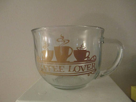 Coffee Lover Glass Mug Cup Gift for Her Bakery Kitchen