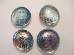 4 Zombie Skeleton Cat and Dog Handmade Glass Magnets Pop Culture