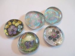 5 Flower and Butterfly Handmade Glass Magnets Home Decor
