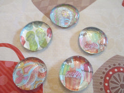 5 Handmade Glass Mixed Magnets Home Decor
