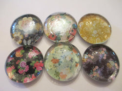 6 Flower Themed Handmade Glass Mixed Magnets