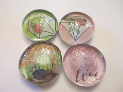 4 Geometric Pattern Themed Handmade Glass Magnets Home Decor