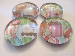 4 Cupcake Baking Handmade Glass Magnets Home Decor