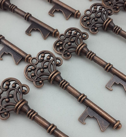 100 Vintage Antique Bronze Skeleton Keys Wedding Craft Supplies