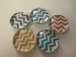 5 Mixed Chevron Handmade Glass Magnets Home Decor