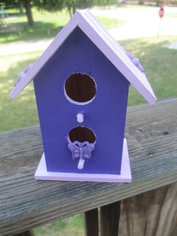Purple Butterfly Hand Painted Birdhouse Home Decor Garden Jenuine Crafts