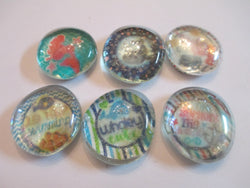 6 Beach Water Handmade Glass Magnets Home Decor