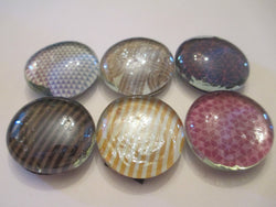 6 Mixed Pattern Themed Handmade Glass Magnets Home Decor