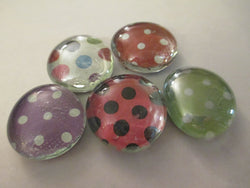 5 Mixed Polka Dot Handmade Glass Magnets Home Decor