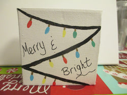 Merry and Bright Christmas Lights Canvas Hand Painted Home Decor