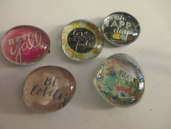 5 Trendy Sayings Themed Glass Handmade Magnets Home Decor Kitchen