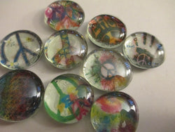 4 Peace Tye Dye 60's Theme Christmas Handmade Glass Magnets Home Decor