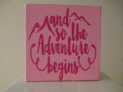 The Adventure Begins Mountain Travel Sign Home Decor Shelf Sitter Custom Colors Jenuine Crafts