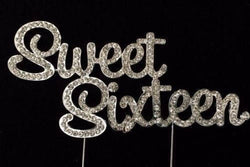 Sweet Sixteen 16 16th Birthday Party Cake Topper Large Rhinestone
