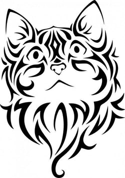Tribal Cat Vinyl Car Decal Bumper Window Sticker Any Color Multiple Sizes Jenuine Crafts