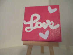 Love Hand Painted Mini Canvas Sign Magnet Home Decor Jenuine Crafts