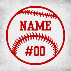 Baseball Softball Custom Number Name Vinyl Car Decal Bumper Window Sticker Any Color Multiple Sizes Jenuine Crafts