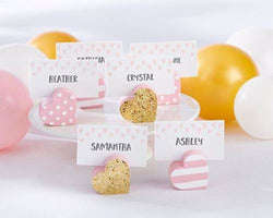 6 Pink And Gold Heart Place Card Holders Wedding Favors Decor