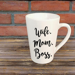 Wife Mom Boss Mug Coffee Cup Gift Home Decor Custom Colors