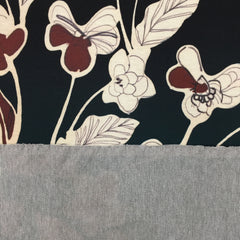 Flower Rows Teal - Printed Ponti Panel