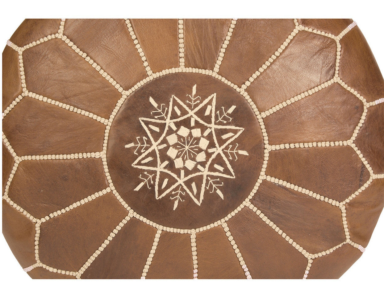 natural brown leather ottoman pouf pattern - Brown Leather Ottoman