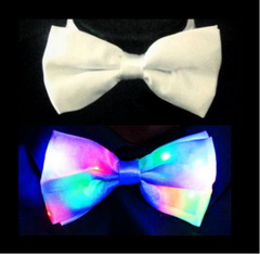 2 in 1 White Formal Bowtie + Light Up Party Tie-LittleLightLab