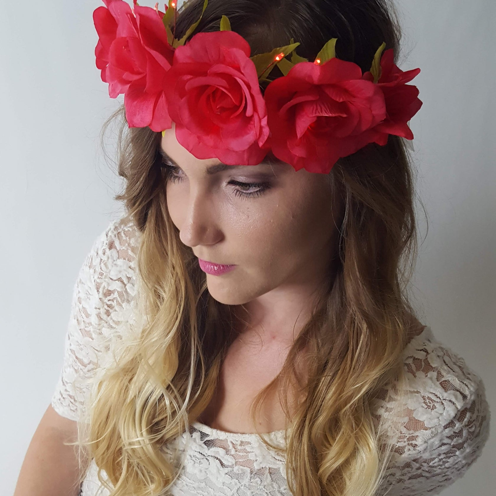 Red Rose Light Up Flower Crown