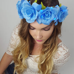Blue Rose Light Up Flower Crown