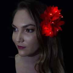 "Red Peony Light Up Glowing Hair Flower (5"")"