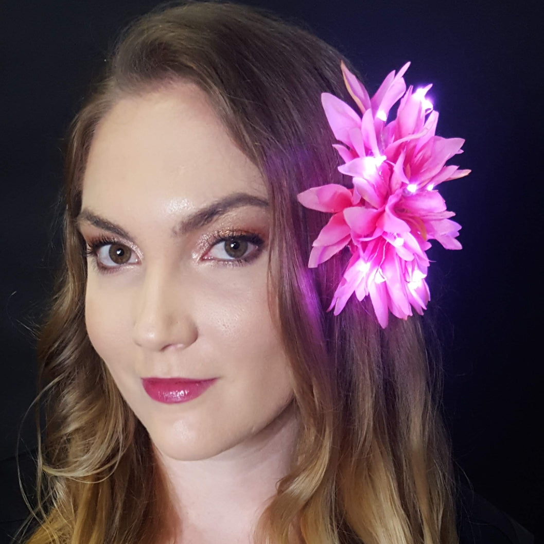 "Pink Light Up Glowing Hair Flower (5"")"