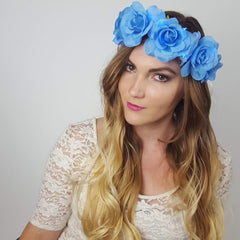 Blue Rose Light Up Flower Crown-LittleLightLab
