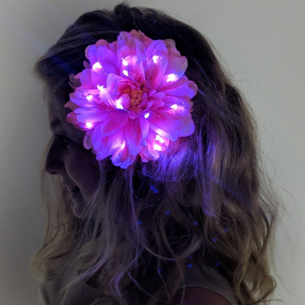 Light Up Hair Flower Peony-LittleLightLab