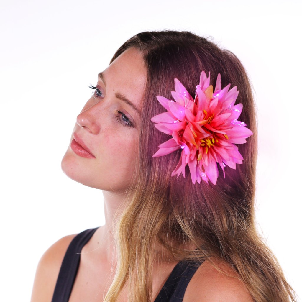 "Pink Light Up Glowing Hair Flower (5"")-LittleLightLab"
