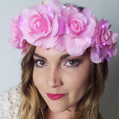 Pink Rose Light Up Flower Crown-LittleLightLab