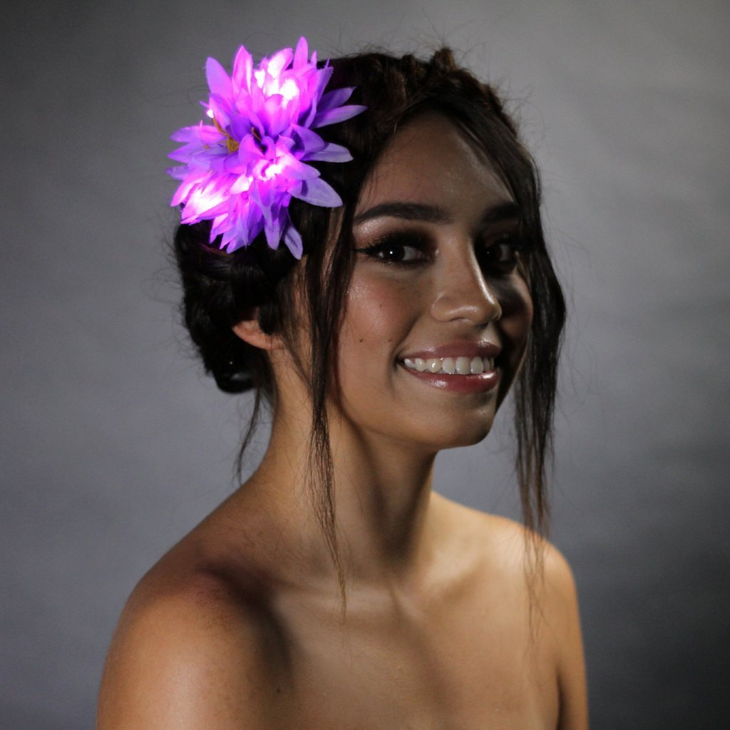 "Purple Light Up Glowing Hair Flower (5"")-LittleLightLab"