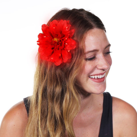 "Red Peony Light Up Glowing Hair Flower (5"")-LittleLightLab"