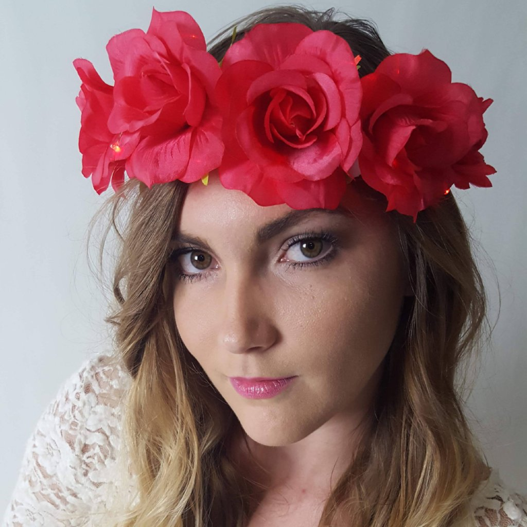 Red Rose Light Up Flower Crown-LittleLightLab
